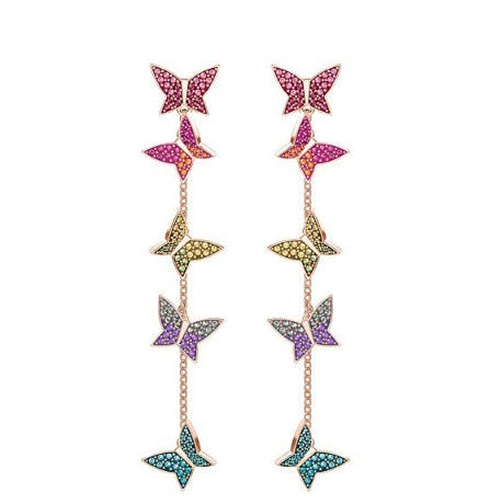 Lilia Pierced Earrings, Multi-Colored, Rose Gold Plating from Swarovski