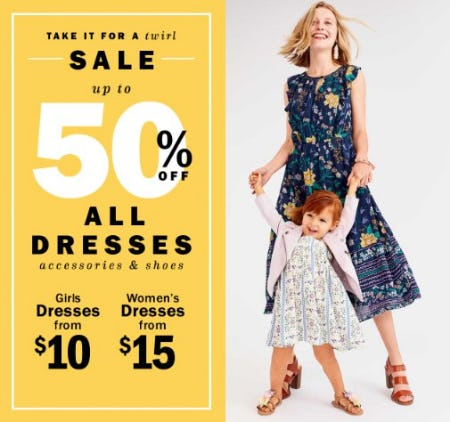 Up to 50% Off All Dresses, Accessories & Shoes