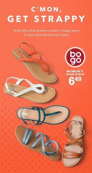 BOGO 50% Off All Women's Sandals