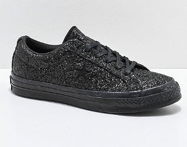 Converse One Star Black Sparkle Skate Shoes from Zumiez