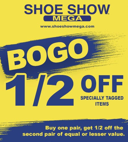 Specially tagged items, Buy 1 – Get 2nd pair ½ off! from Shoe Show