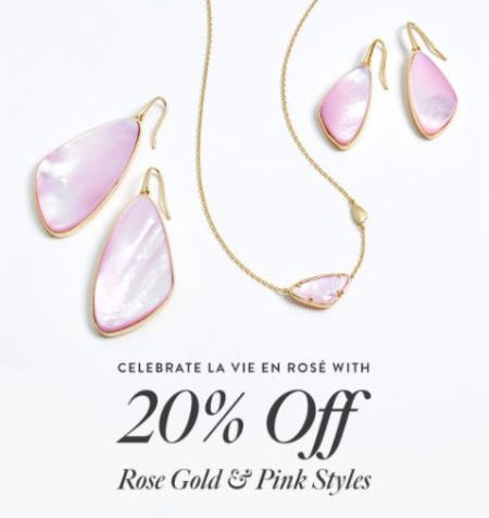 20% Off Rose Gold and Pink Styles from Kendra Scott
