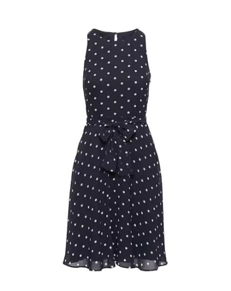 Polka Dot Racer-Neck Fit-and-Flare Dress