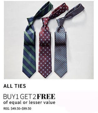 All Ties Buy 1, Get 2 Free from Jos. A. Bank