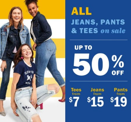 Up to 50% Off All Jeans, Pants & Tees on Sale