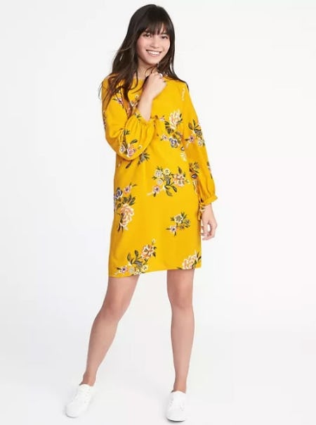 tie-sleeve-shift-dress-for-women