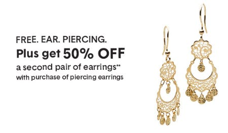 Free Ear Piercing with the Purchase of a Pair of Piercing Earrings from Banter By Piercing Pagoda