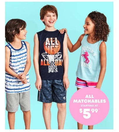 All Matchables Starting at $5.99 from The Children's Place