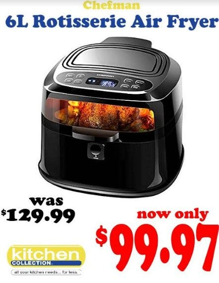 Chefman 6L Rotisserie Air Fryer Now Only $99.97 from Kitchen Collection