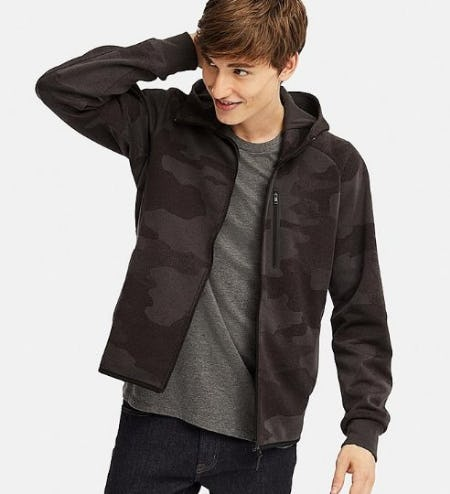 Men Dry Stretch Sweat Full-Zip Hoodie from Uniqlo