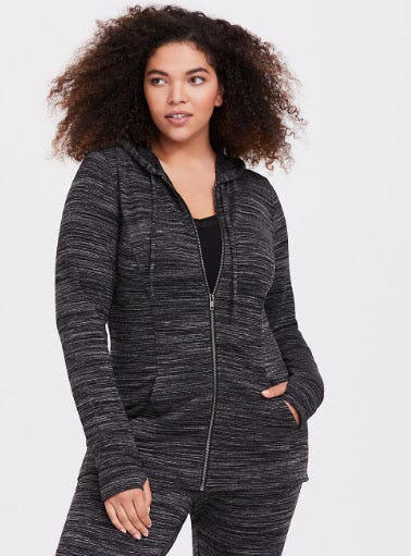 Black Brushed French Terry Active Jacket from Torrid