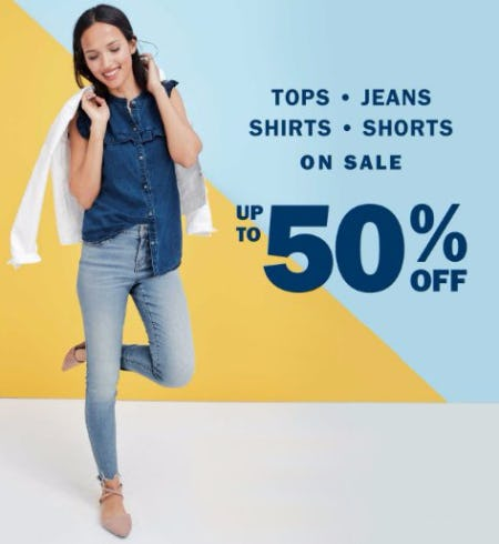 Up to 50% Off Tops, Jeans, Shirts & Shorts