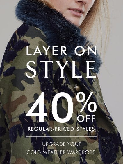 40% Off Regular-Priced Styles