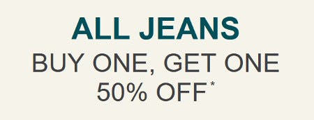 All Jeans Buy One, Get One 50% Off