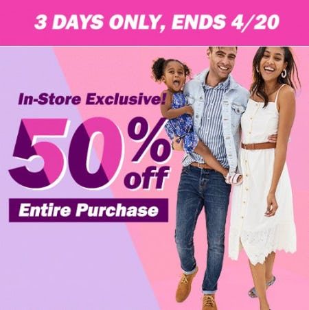 50% Off Entire Purchase from Old Navy