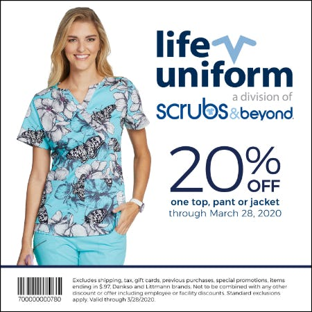 Life Uniform 2020 Spring Coupon from Life Uniform