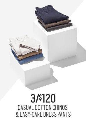 Casual Cotton Chinos & Easy-Care Pants 3/$120 from Men's Wearhouse and Tux