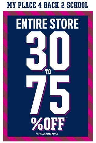 Entire Store 30 to 75% Off