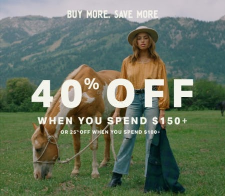40% Off When You Spend $150+ from Lucky Brand Jeans