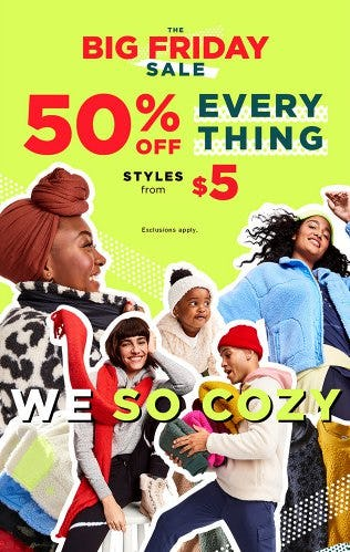 Big Friday Sale: 50% Off Everything from Old Navy