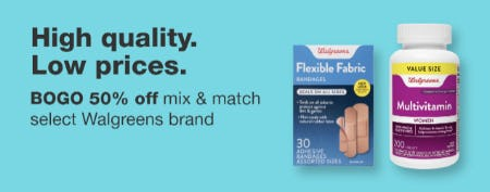 BOGO 50% Off Mix & Match Select Walgreens Brand from Walgreens