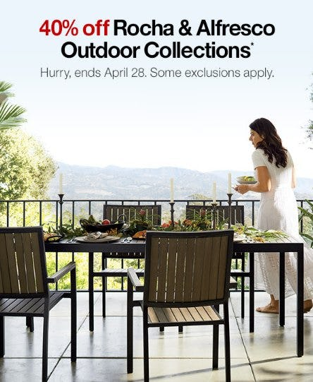 40% Off Rocha & Alfresco Outdoor Collections from Crate & Barrel