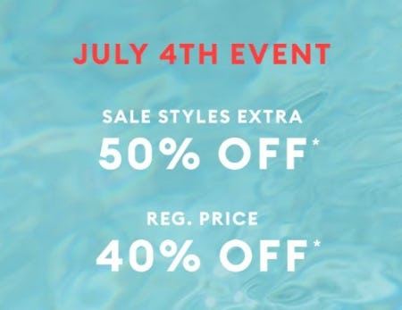 Additional 50% Off Sale Styles plus 40% Off Regular Price