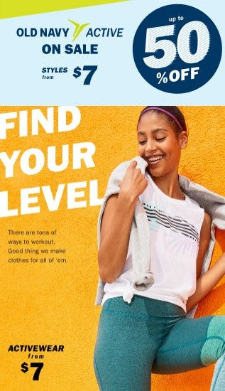 Old Navy Active on Sale up to 50% Off from Old Navy