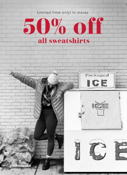 50% Off All Sweatshirts