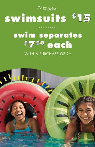 Swimsuits $15 & Swim Separates $7.50 Each from Justice
