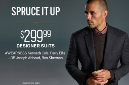 $299.99 Designer Suits from Men's Wearhouse and Tux