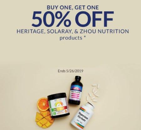 BOGO 50% Off Heritage, Solaray & Zhou Nutrition Products