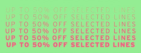 Up to 50% Off Selected Lines from TOPSHOP