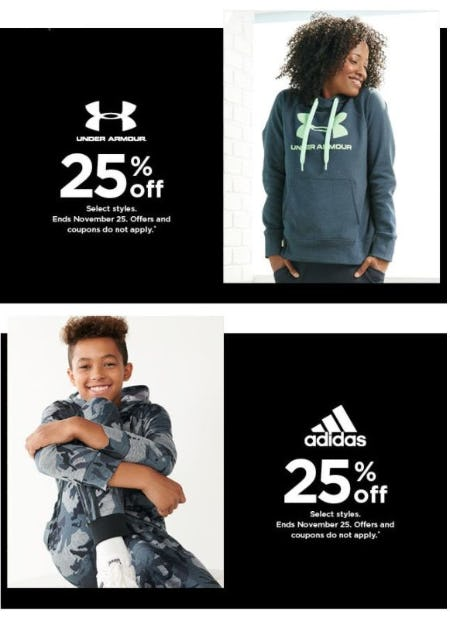 25% Off Under Armour & adidas from Kohl's