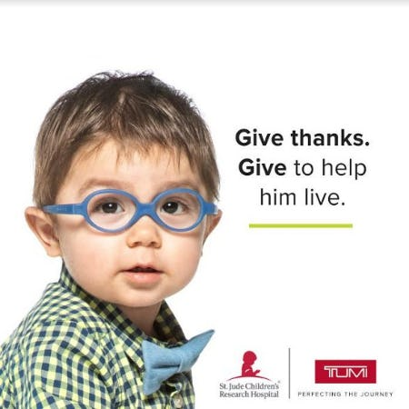 Give Thanks. Give to Help Him Live. from TUMI