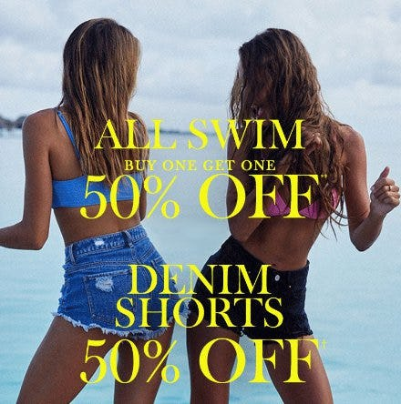 BOGO 50% Off Swim + 50% Off Denim Shorts