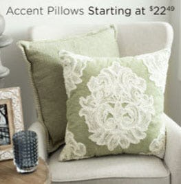 Accent Pillows Starting at $22.49