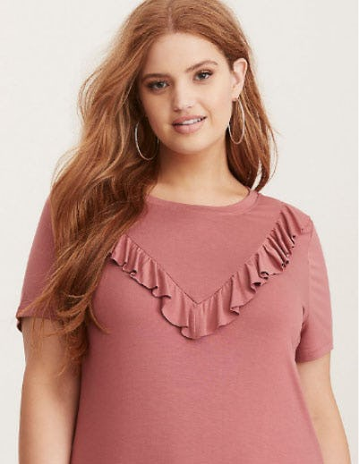 Super Soft Ruffle Front Tee