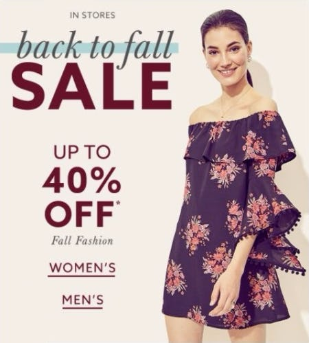 Back to Fall Sale up to 40% Off