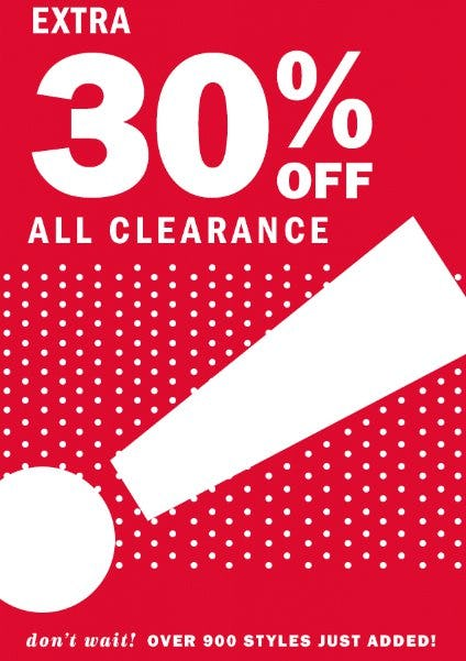 Extra 30% Off All Clearance