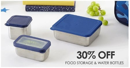 30% Off Food Storage and Water Bottles from Pottery Barn Kids