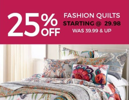 25% Off Fashion Quilts from Stein Mart