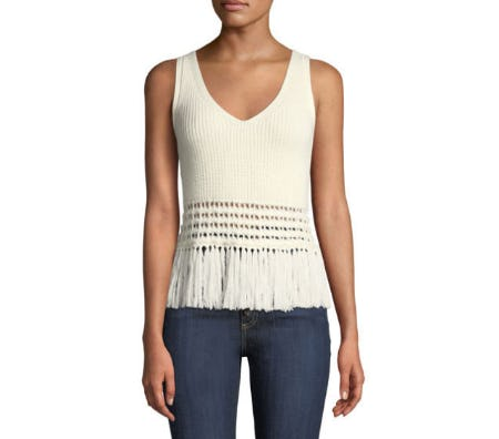 Rebecca Minkoff Eliza Sleeveless Fringe-Hem Sweater from Neiman Marcus