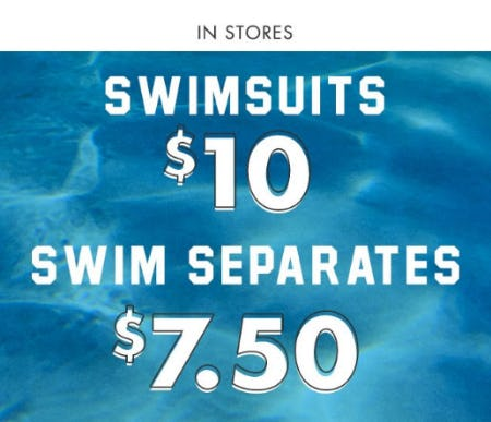 $10 Swim, $7.50 Each Swim Separates from Justice