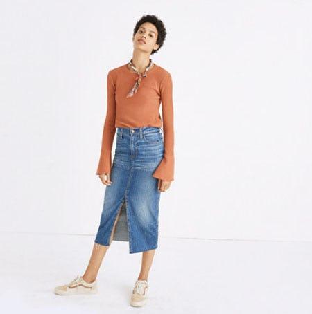 Reconstructed Midi Jean Skirt
