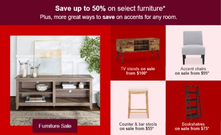 Save Up to 50% on Select Furniture