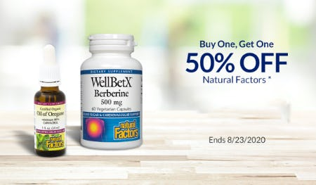 BOGO 50% Off Natural Factors from The Vitamin Shoppe