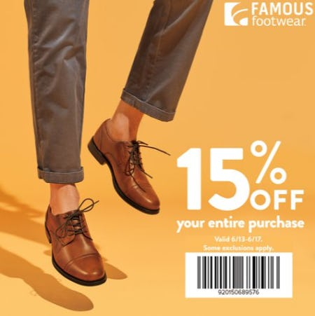 Famous Footwear 15% Off Father's Day Offer from Famous Footwear