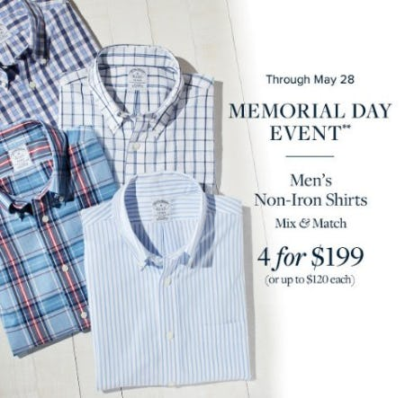 Men's Non-Iron Shirts 4 for $199 from Brooks Brothers