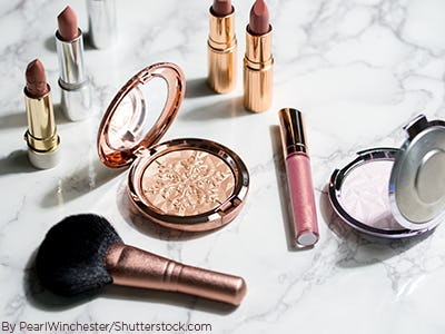 Beauty products flat lay
